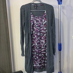 stylish artsy purple dress w/ grey cardigan